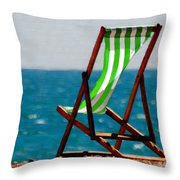 Lounging In Long Beach Throw Pillow