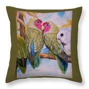 Flygende Lammet   Productions             3 Love Birds Perched Throw Pillow