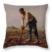Man With A Hoe Throw Pillow