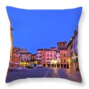 Mantova City Piazza Delle Erbe Evening View Panorama Throw Pillow