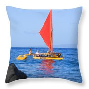 Maui Sailing Canoe Throw Pillow by Ron Dahlquist - Printscapes