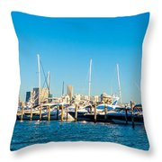 Miami Florida City Skyline Morning With Blue Sky Throw Pillow