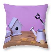 Miniature Gardening Kit With Pink Background Throw Pillow