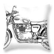 Motorcycle Art, Black And White Throw Pillow