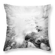 Mountain Stream In Summer Mist Throw Pillow
