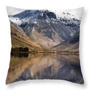 Mountains And Lake, Lake District Throw Pillow by John Short