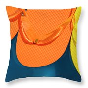 Multicolored Flip Flops Floating In Pool Throw Pillow