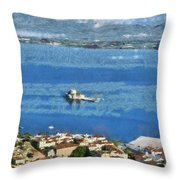 Nafplio Town And Bourtzi Fortress Throw Pillow