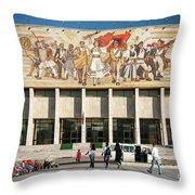 National Historical Museum Landmark And Mosaic Mural In Tirana A Throw Pillow