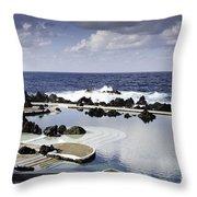 Natural Pools In Porto Moniz, Madeira Throw Pillow