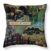 History Of Bristol Tn/va Throw Pillow