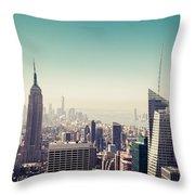 New York Manhattan Skyline At Sunset Throw Pillow