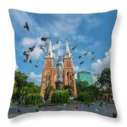 Notre-dame Cathedral Basilica Of Saigon, Officially Cathedral Basilica Of Our Lady Of The Immaculate Throw Pillow