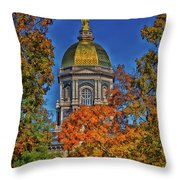 Notre Dame's Golden Dome Throw Pillow