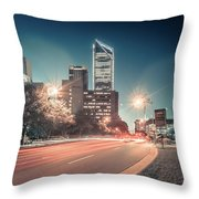 November, 2017, Charlotte, Nc, Usa - Early Morning In The City O Throw Pillow