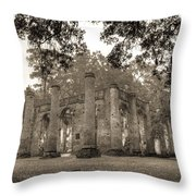 Old Sheldon Church Ruins Throw Pillow
