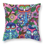 3 Owls Throw Pillow