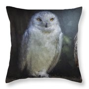 3 Owls On A Branch Throw Pillow
