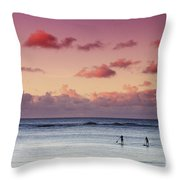 Paddlers At Sunset Throw Pillow