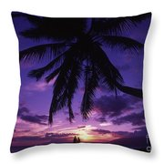 Palm Over The Beach Throw Pillow