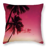 Palms Against Pink Sunset Throw Pillow