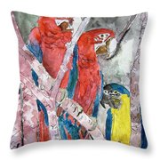 3 Parrots Throw Pillow