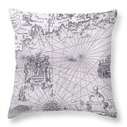 Part Of Captain J Smith's Map Of New England Throw Pillow