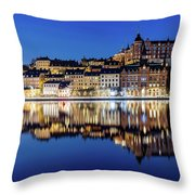 Perfect Sodermalm And Mariaberget Blue Hour Reflection Throw Pillow