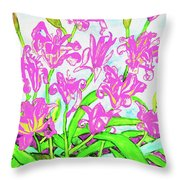Pink Daily Lilies Throw Pillow
