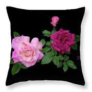 3 Pink Roses Cutout Throw Pillow