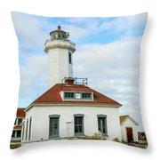 Point Wilson Lighthouse Throw Pillow