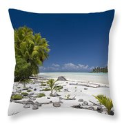 Polynesian Beach With Palms Throw Pillow