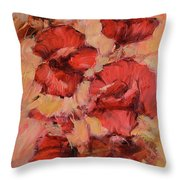 Poppy Flowers Handmade Oil Painting On Canvas Throw Pillow