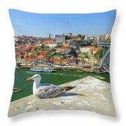 Porto Skyline Seagull Throw Pillow