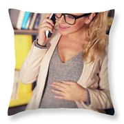 Pregnant Woman At Work Throw Pillow