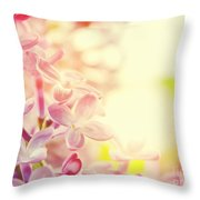 Purple Spring Lilac Flowers Blooming Close-up Throw Pillow