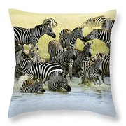 Quenching Their Thirst Throw Pillow