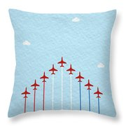 Raf Red Arrows In Formation Throw Pillow