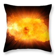 Realistic Fire Explosion, Orange Blast With Sparks Isolated On Black Background Throw Pillow