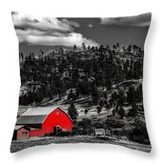 Red Barn In Wyoming Throw Pillow