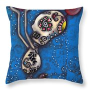 3 Red Birds Throw Pillow by Abril Andrade Griffith