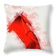 Red Flag On Black Background Throw Pillow