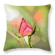 Red Garden Rose Bud Throw Pillow
