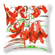 Red Lilies, Hand Drawn Painting Throw Pillow