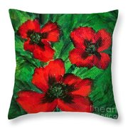 3 Red Poppies Throw Pillow