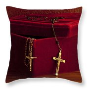 Red Velvet Box With Cross And Rosary Throw Pillow
