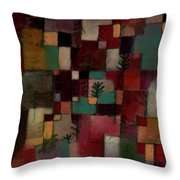 Redgreen And Violet-yellow Rhythms Throw Pillow