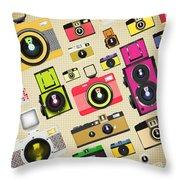 Retro Camera Pattern Throw Pillow