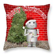 Robo-x9 Wishes A Merry Christmas Throw Pillow