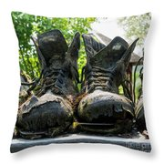 Row Of Old Leather Worn Out Shoes  Throw Pillow